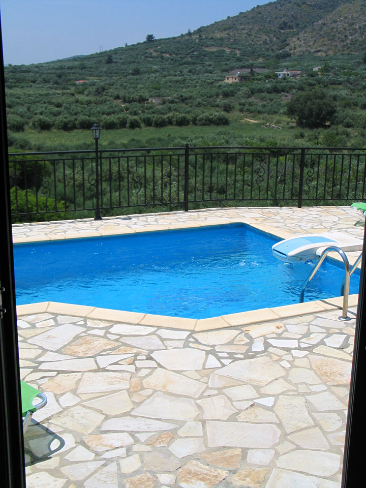 Villa Mary pool view from inside